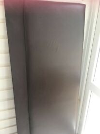 Kingsize brown leather headboard in good condition