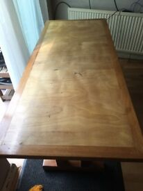 Long wooden diner table