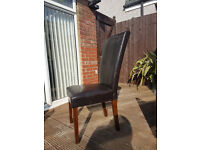 4 Brown Faux leather dining table chairs.