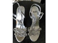 Brand New! Ladies Faith Silver Diamante High Heeled Sandal Size 7