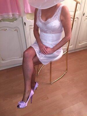 zartes edel feminines Vintage Nylon Perlon Unterkleid Unterrock Negligee Spitze