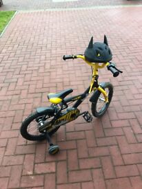 Children's bike and Batman helmet