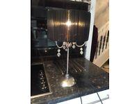 Black shade silver base table lamp very stylish