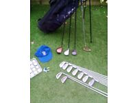 FULL SET MENS GOLF CLUBS + BEN SAYERS GOLF BAG + GOLF BALLS, GOLF TEES + BRAND NEW KANGOL GOLF CAP