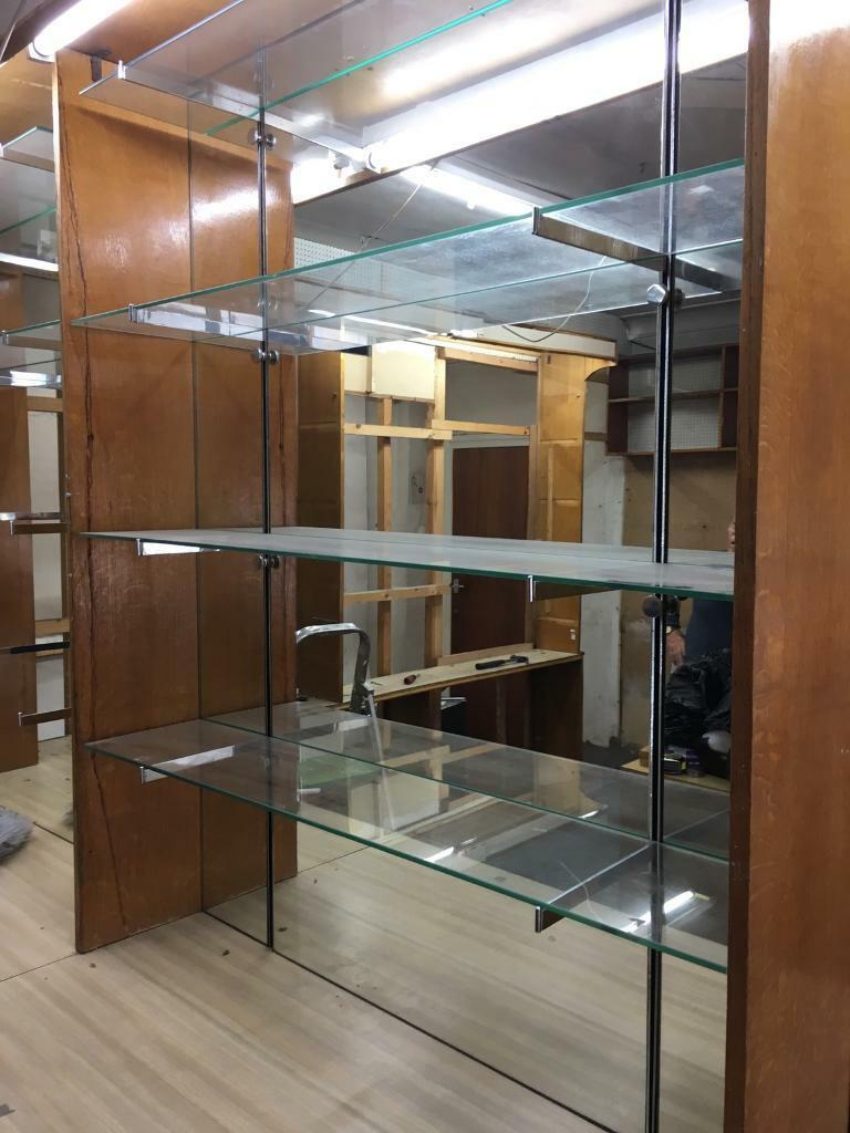 Glass shelving/brackets and mirrors