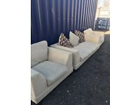 Lovely Huge DFS Beige / Oatmeal 3 Seater Sofa And 2 Armchairs. Can Deliver.