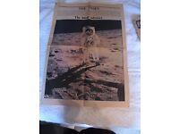 Moon Landing Newspapers - Original (3 US and 1UK)