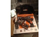 Worx 20v lithium drill with bag and 2 battery's