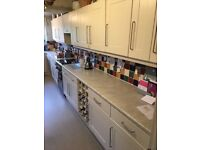 Second hand kitchen units, worktops and extractor fan, good condition