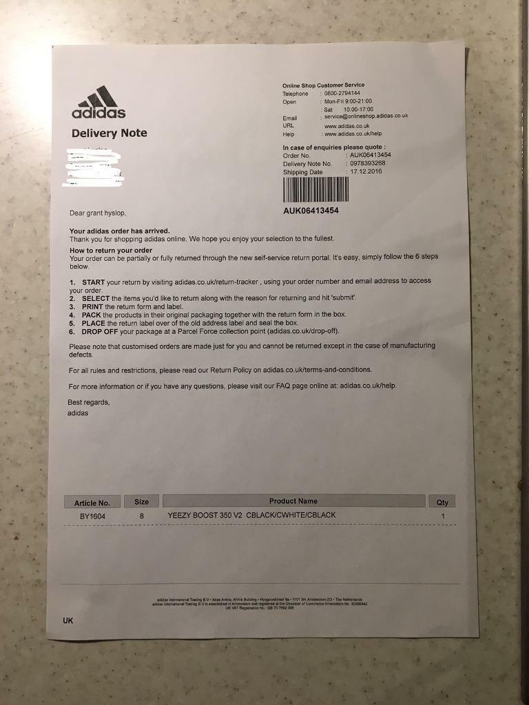 adidas uk delivery
