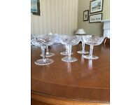 6 Waterford Crystal Champagne coupe glasses