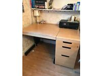 Desk, Pedestal with 3 drawers, Chair and Printer - FREE!