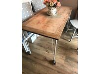 SOLD stc Rustic Teak Dining Table with cream metal legs on castors