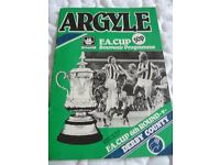 Plymouth Argyle versus Derby County Vintage Football Programme - 1983/84
