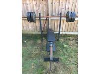 Weight Bench, Weights, Curl Bar, Bar & Dumbbells