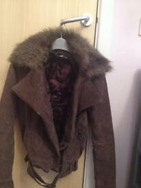 Jane Norman brown suede jacket with faux fur collar