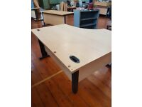 Left handed Maple wood effect curved office desk 1400mm