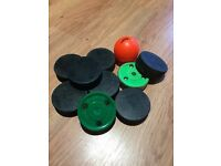 Ice Hockey Pucks Bundle For Sale, includes 7 pucks, 2 Green Biscuit Snipe and one ball