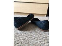 Toms - Black Suede Diamond Embossed. Worn once. Still as new.