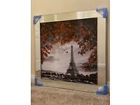 Red Paris Eiffel Tower Glass Picture Mirror Framed Liquid Art (85x85cm) – BRAND NEW