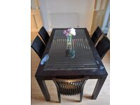 Dining table & 6 chairs - Solid wood, glass top, needs some attention