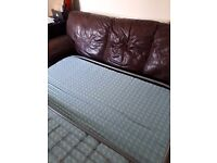 Good quality leather 3 seater sofa bed.