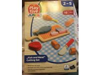 Brand new Role play wooden meat cutting set
