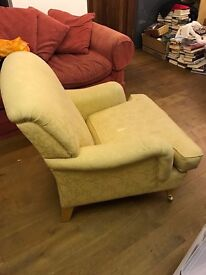 Elegant canary yellow armchair, vintage chic