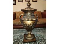 Vintage Amphora / Urn with Lid - 3 feet Tall - Bronze Effect - Heavy