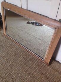Large antique vintage overmantle Tunbridge ware mirror