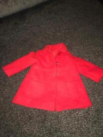 Girls red mothercare coat age 6-9 months