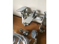 D2C Polished Chrome Bath Deck Mounted Shower Mixer Complete with Shower Kit - Brand New & Boxed
