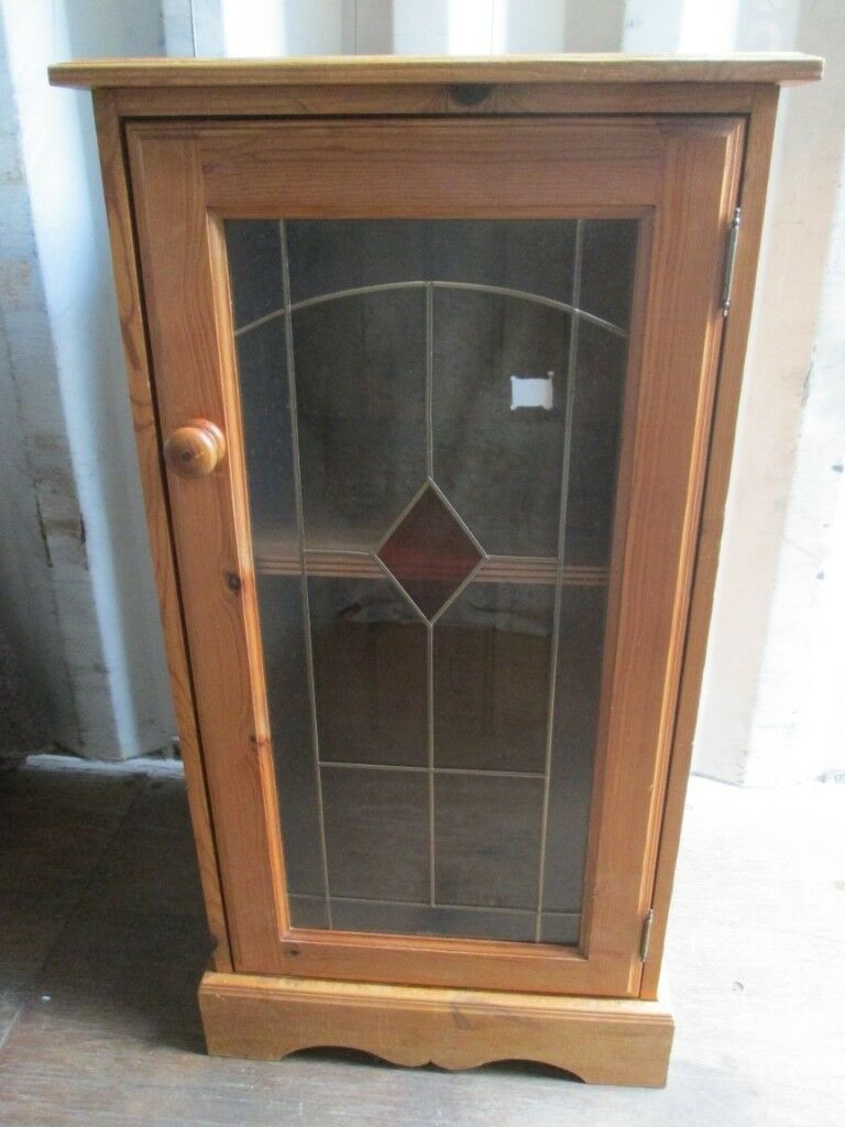 Pine Hi Fi Cabinet Cupboard Entertainment Unit With Glass Door In