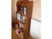 Pine shelving unit or book case (140cm high by 57cm wide by 40cm deep)