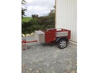 Leaf Spring trailer in top class condition. 5x3ft, new tyres, wheels and lights