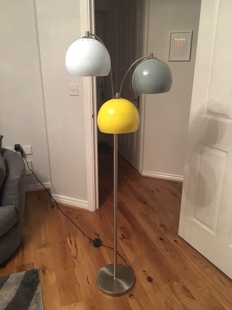 Dantzig 3 Arm Floor Lamp Base Brushed Chrome With Multi Colour Shades