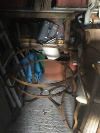 Iron dining table and 4 chairs