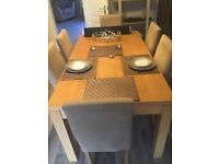 Extendable Next Dinning room table with 6 Chairs matching side table and mirror