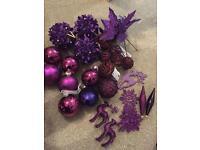40+ purple coloured Christmas tree decorations