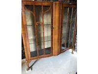 Vintage Art Deco to 1950s display cabinet in walnut