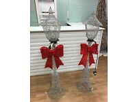 6x Silver lamppost with Red Bow, 150cm, LED