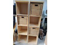 Two Ikea storage units with three baskets