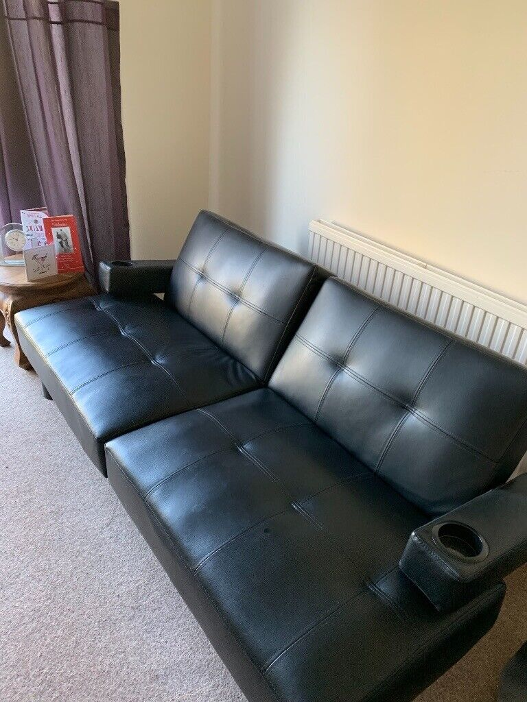 Enjoyable Sofa Bed Black Faux Leather In Exeter Devon Gumtree Caraccident5 Cool Chair Designs And Ideas Caraccident5Info