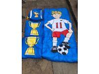 Sleeping Bag with Matching Pillows & Rucksack Football Theme