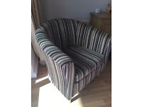 Pair of Tub Chairs, Stripe fabric