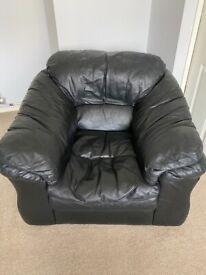 Leather settee.