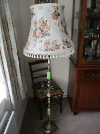 Vintage Gold Green Onyx Marble Floor Standing Standard Lamp Cream Fringed patterned Shade
