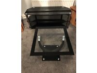 Black glass tv stand and coffee table