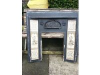 "Victorian tiled Cast Iron Fireplace 37""x 37"" (94x94cm) c209 stamped- Collect Oldham"
