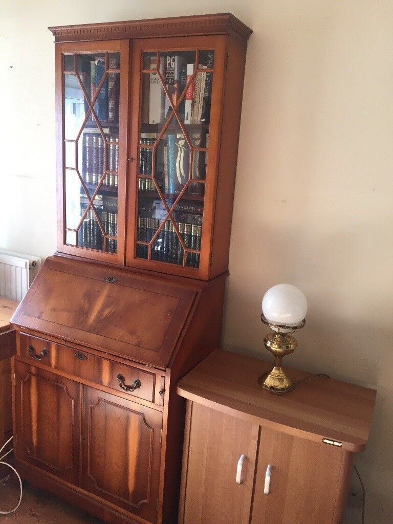 Display Cabinet With Gl Fronted Shelves Drop Down Writing Desk And Storage E